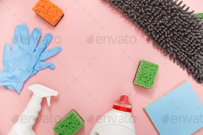Cleaning tools set. Top view