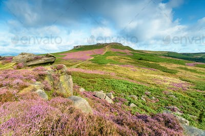 Summer at Carl Wark in the Derbyshire Peak District, looking towards Higger Tor
