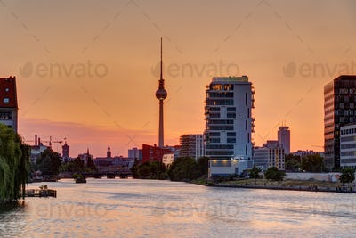 Beautiful orange sky at sunset over Berlin