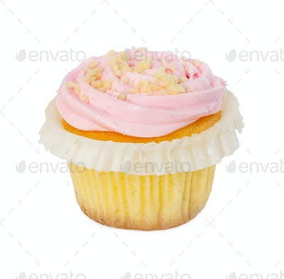 Cupcake with strawberry cream isolated on white