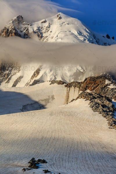 glacier du Tour in sunrise. French Alps