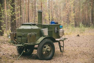 Russian Soviet World War Ii Field Kitchen In Forest. WWII Equipm