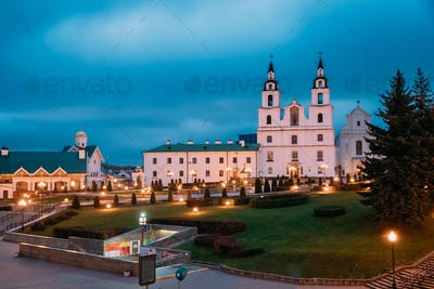 Minsk, Belarus. Night Illuminated View Of Cathedral Of Holy Spir