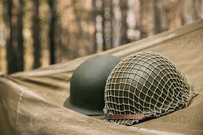Metal Helmet Of United States Army Infantry Soldier At World War