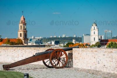 Vilnius, Lithuania. Old Cannon In Artillery Bastion Of Vilnius