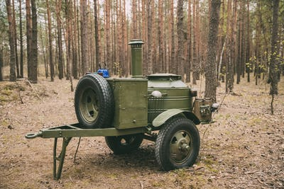 Russian Soviet World War Ii Field Kitchen In Forest. WWII Equipm