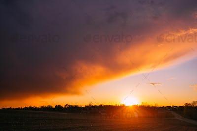 Spring Sunset Sunrise Above Belarusian Village In Eastern Europe