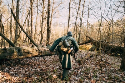 Re-enactor Dressed As German Infantry Wehrmacht Soldier Of The W