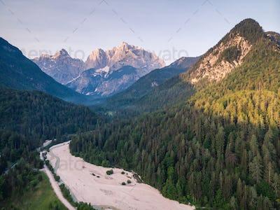 Sunrise in Julian Alps, Slovenia, aerial drone view