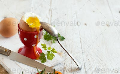 Soft-boiled egg in the eggcup
