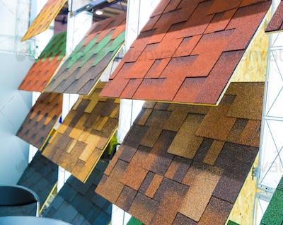 Bitumen tile, exhibition sample in the store
