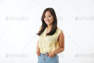 Happy young asian woman isolated