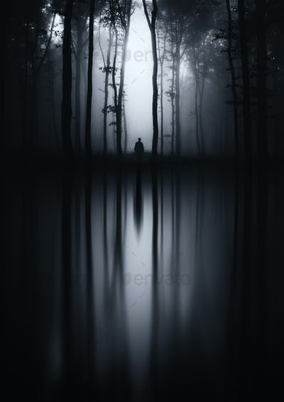 Haunted forest dark lake reflection