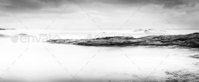 Calm Ocean Landscape Black and White