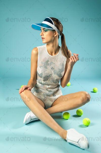 vintage female tennis player