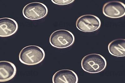 Close up of vintage typewriter machine keys