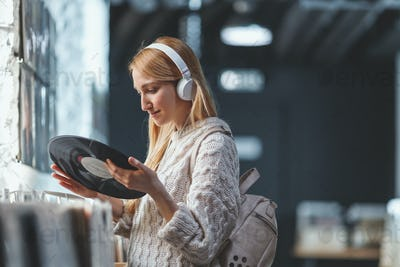 Young attractive girl with headphones