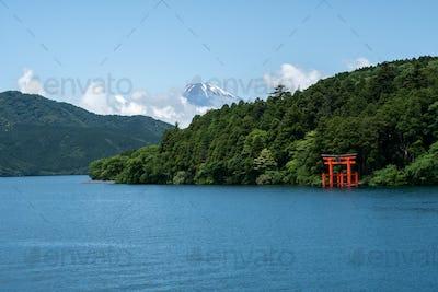 Hakone shrine with mt.Fuji at  lake Ashi, Japan