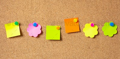Sticky notes with pushpins, colorful in various shapes and blank space, isolated on cork background.