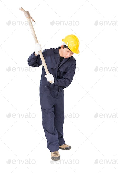 Man in uniform hold pick mattock_-7