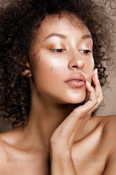 Fashion studio portrait of beautiful african american woman