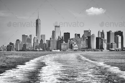 Lower Manhattan seen from Upper Bay, New York.