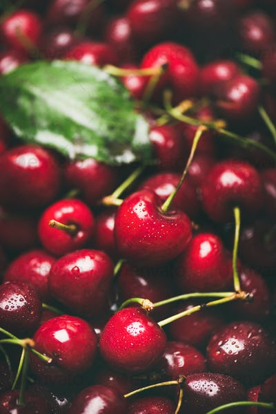 Fresh sweet cherry texture, wallpaper and background, selective focus