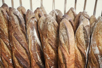 French bread on shelves