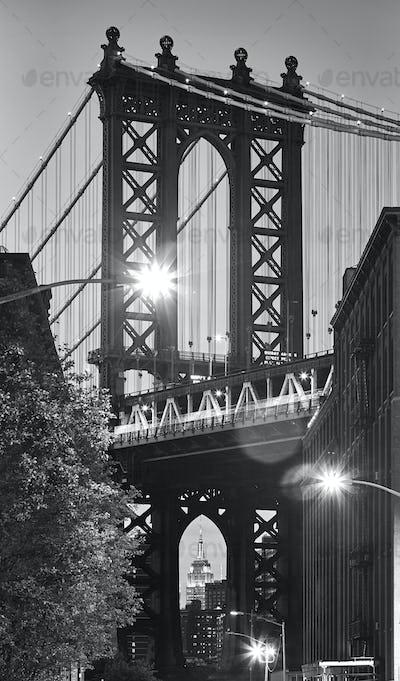 Manhattan Bridge seen from Dumbo at dusk, New York.