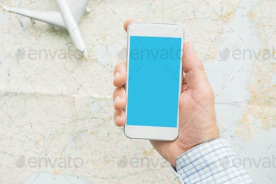 Business travel smartphone mock up