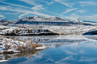 Winter landscape with Wolford Mountain Reservoir