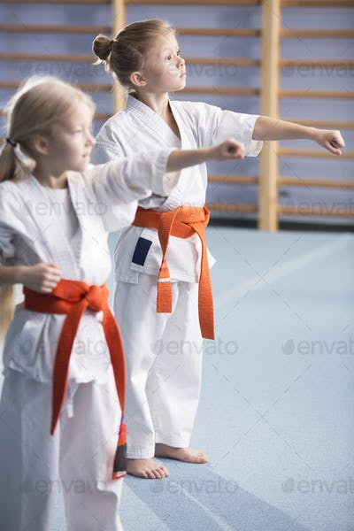 Young girls training karate moves