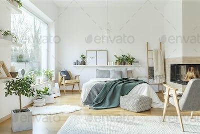 Spacious scandi bedroom interior
