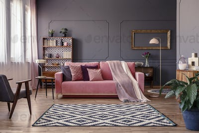Pink sofa with two blankets and cushions standing in sitting roo