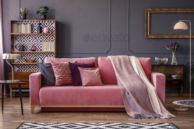 Front view of a pink sofa with pillows and blanket, vintage cupb