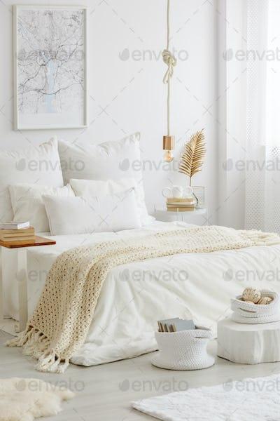 Bedroom arranged in scandinavian style
