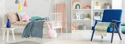 Header of a scandinavian bedroom interior for a child with cute