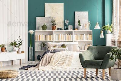 Bedroom with white scandinavian furniture