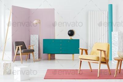 Spacious pastel flat interior