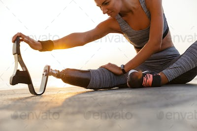Cropped image of motivated disabled athlete woman