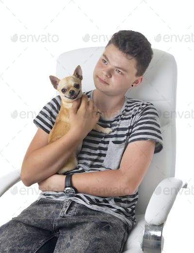 young chihuahua and teen
