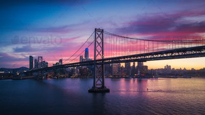 Aerial Cityscape view of San Francisco and the Bay Bridge with C
