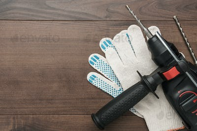Hammer Drill And Gloves