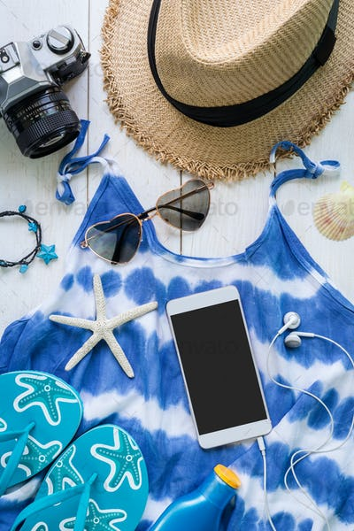 Women's casual clothes with accessories items, Summer concept