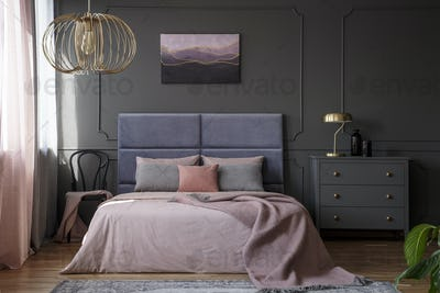 Elegant pastel bedroom interior