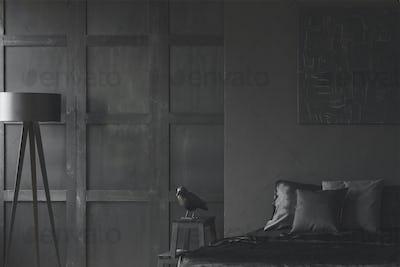 Minimal black bedroom interior