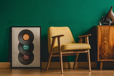 Yellow chair in vintage interior