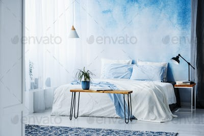 Plant on wooden table in front of bed with blue cushions in bedr