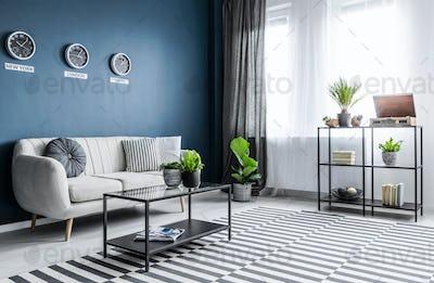 Bright blue living room interior