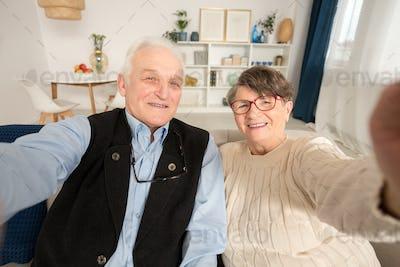 Happy senior marriage taking selfie